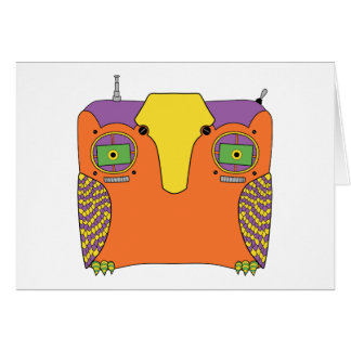 Owl Robot Orange Yellow Green Purple Greeting Card