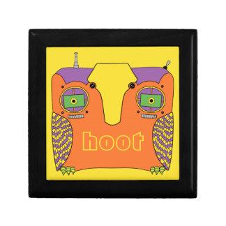 Owl Robot Orange Yellow Green Purple Keepsake Box