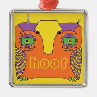 Owl Robot Orange Yellow Green Purple Square Metal Christmas Ornament