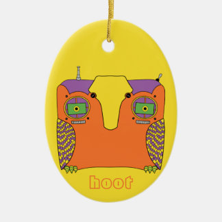 Owl Robot Orange Yellow Green Purple Double-Sided Oval Ceramic Christmas Ornament
