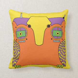 Owl Robot Orange Yellow Green Purple Throw Pillow
