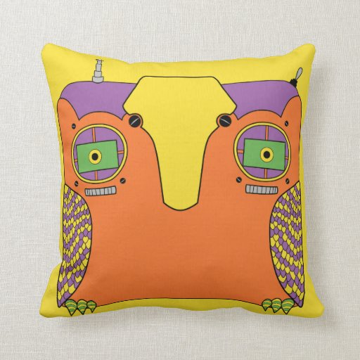 Owl Robot Orange Yellow Green Purple Throw Pillow Zazzle