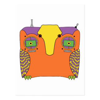 Owl Robot with Orange Purple Green and Yellow Postcard