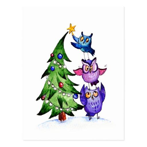 Owl`s Christmas Postcards