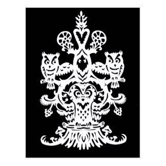 Owl`s hollow black postcard