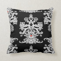 Owl`s hollow black throw pillow