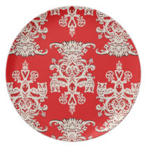 Owl`s hollow red dinner plate