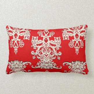 Owl`s hollow - red throw pillow