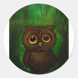 Owl sad eyes classic round sticker
