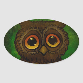 Owl sad eyes oval sticker