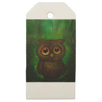Owl sad eyes wooden gift tags