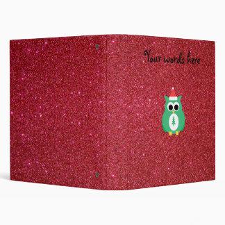 Owl santa green with red glitter binder