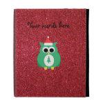 Owl santa green with red glitter iPad folio case