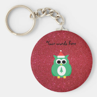 Owl santa green with red glitter key chains