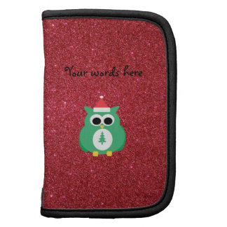 Owl santa green with red glitter organizers