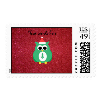 Owl santa green with red glitter postage stamp