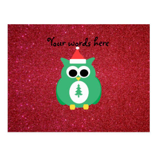 Owl santa green with red glitter postcard