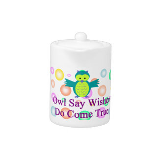 Owl Say Wishes Do Come True Small Teapot