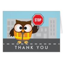 Owl School Crossing Guard Thank You Card