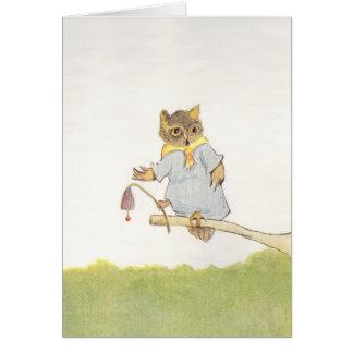 Owl Schoolmarm Rings Bluebell Card