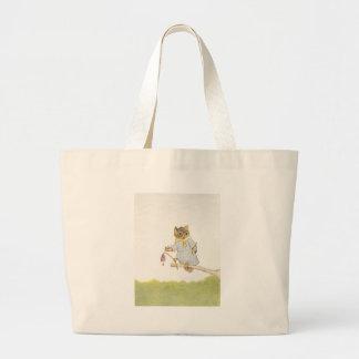 Owl Schoolmarm Rings Bluebell Large Tote Bag