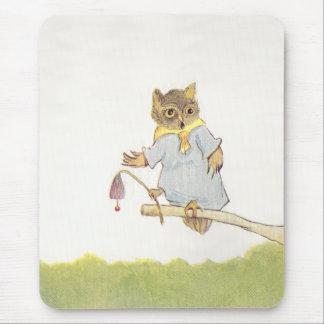 Owl Schoolmarm Rings Bluebell Mouse Pad