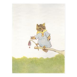 Owl Schoolmarm Rings Bluebell Postcard
