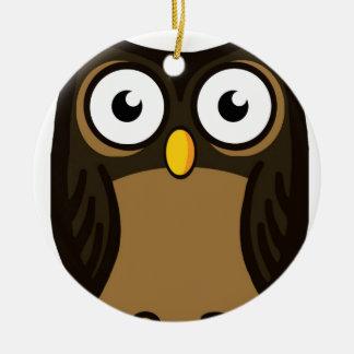 OWL SCOWL CERAMIC ORNAMENT