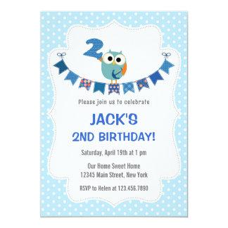 Owl Second Birthday Invitation Sweet Blue