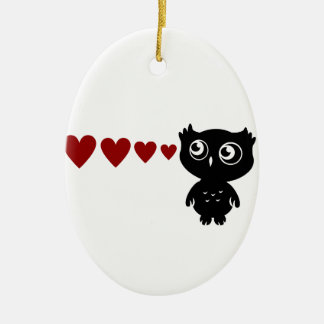 Owl Sees Love I Ceramic Ornament