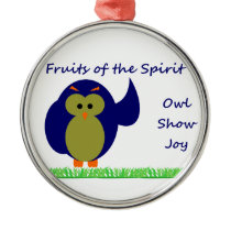 Owl Show Joy Premium Round Ornament