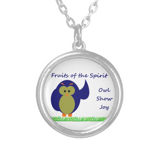 Owl Show Joy Small Silver Plated Round Necklace