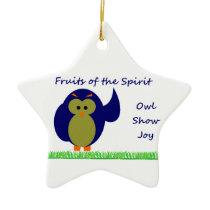 Owl Show Joy Star Ornament