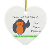 Owl Show Patience Heart Ornament