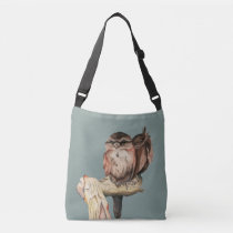 Owl Siblings Watercolor Portrait Crossbody Bag