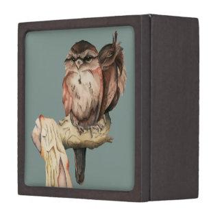 Owl Siblings Watercolor Portrait Jewelry Box