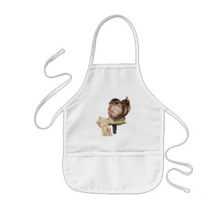 Owl Siblings Watercolor Portrait Kids' Apron