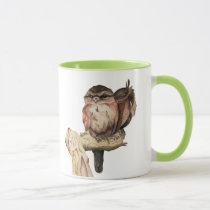Owl Siblings Watercolor Portrait Mug