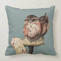 Owl Siblings Watercolor Portrait Throw Pillow