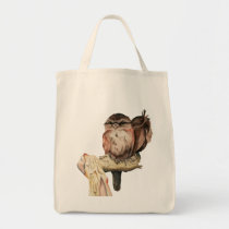 Owl Siblings Watercolor Portrait Tote Bag