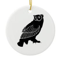 Owl Silhouette Ceramic Ornament