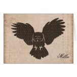 Owl Silhouette Personalized Notecard Card