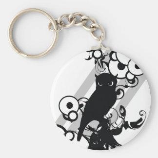 Owl Silhoutte Basic Round Button Keychain