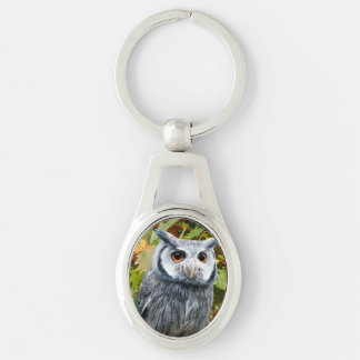 Owl Silver-Colored Keychain