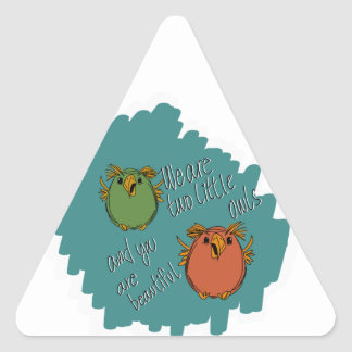 owl sisters triangle sticker