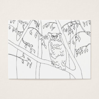 Owl Sitting in a Tree Coloring Business Cards