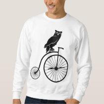 Owl Sitting on a Penny Farthing Bike Sweatshirt