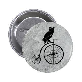 Owl Sitting on a Vintage Bike Button