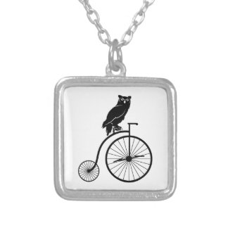 Owl Sitting on a Vintage Bike Silver Plated Necklace