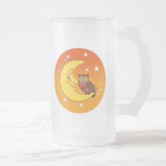 Owl sitting on the moon 16 oz frosted glass beer mug